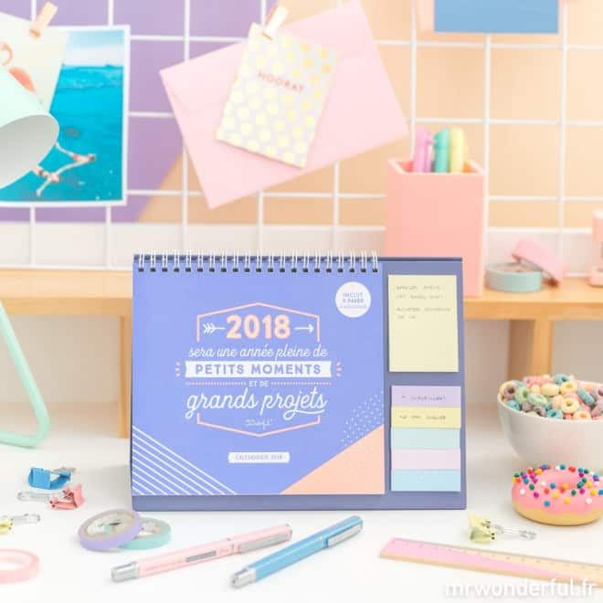 calendrier de table mr wonderful 2018 stickers